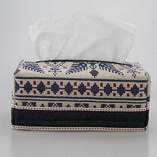 PLYY Retro Böhmen Familien-Tissue-Box-Halter Baumwolle und Leinen Toilettenpapierspender Kreativität Tissue-Box rechteckige Tissue Box Dünn, Blue (Böhmen Papier)