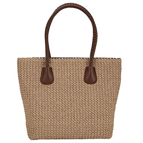 Lenfesh Strohtasche Umhängetasche Damen Handtaschen Sommer Strohsack Crossbody Tasche Retro Schulterbeutel Freizeit Geflochten Strandtasche