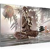 Bilder Buddha Feng Shui Wandbild 120 x 80 cm Vlies - Leinwand Bild XXL Format Wandbilder Wohnzimmer Wohnung Deko Kunstdrucke Braun 3 Teilig -100% MADE IN GERMANY - Fertig zum Aufhängen 503431a