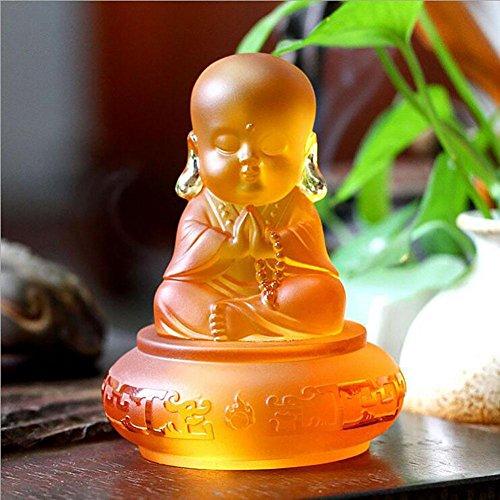 dono processo di vetro Buddha statue accessori decorativi auto piccole di sabbia Monk Ottimizzata , amber