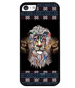 PrintVisa Metal Printed Crazy Lion Designer Back Case Cover for Apple iPhone 5C-D4688