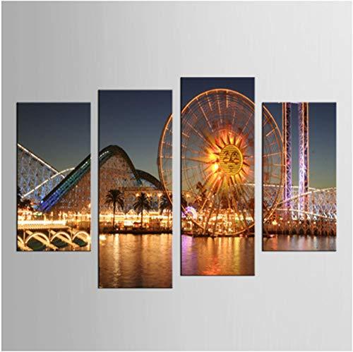 hcwxy Hauptdekoration Wandkunst Leinwand Gemälde 4 Panel Riesenrad Serie Bilder Hd Drucke Moderne Poster Schlafzimmer Modular Eingerahmt Leinwand-Rahmen -