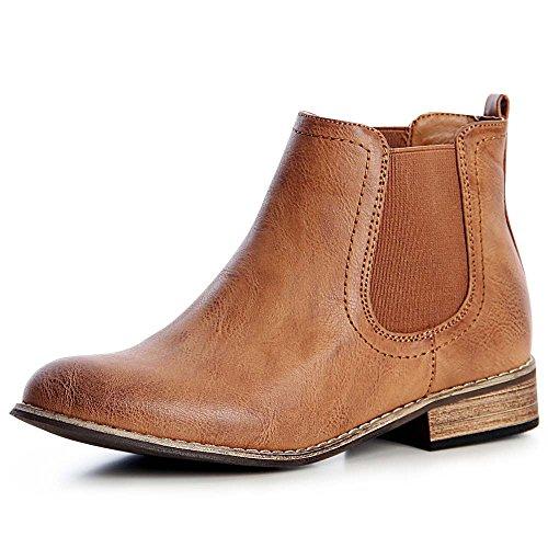 topschuhe24 1327 Damen Stiefeletten Chelsea Boots Booties, Größe:38, Farbe:Camel