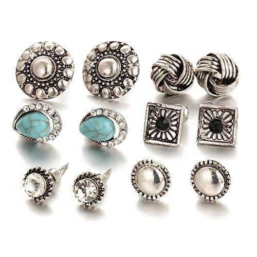 Shining Diva Fashion Jewellery Oxidized Silver Stylish Fancy Party Wear Studs Traditional Earrings For Women Girls Combo(Silver)(cmb277)