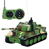 SGILE 1:72 Mini RC Tank with Remote Control German Tiger Panzer Tank,Gift for Kids Assorted Color (Army-green)