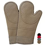 Heat Resistant Silicone Hot Oven Mitts for 500F with waterproof,1 Pair of Extra Long Size Kitchen Oven Gloves with Soft Cotton Lining for BBQ Cooking,Baking Grilling Microwave Brown