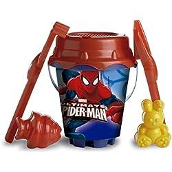 Spiderman - Set de playa con cubo y accesorios, 22 cm (Mondo Toys 311001)