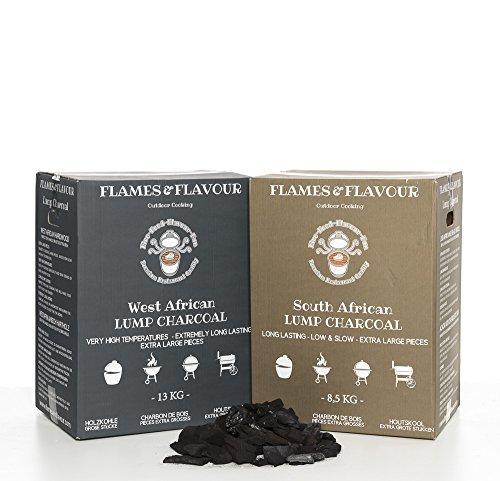 8,5 KG Südafrikanische Schwarzholz-Akazie + 13 KG Westafrikanische Hartholz Premium Restaurantqualität Holzkohle - Grillkohle - Steakhousekohle von Flames & Flavour