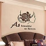 Aussi beau que des fleurs lettres noir stickers muraux une femme avec des roses papier peint salon chambre amovible décoration de la maison 64 * 76 cm