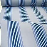 TOLKO Sonnenschutz Markisen-Stoffe als Meterware Zum Nähen mit UV-Schutz 50+ | Wasserdicht, Extra Langlebig - Ohne Ausbleichen (Blau-Gestreift)