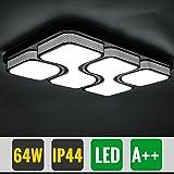 Hengda® Deckenleuchte LED 64Watt Modern Design Kaltweiss IP44 Schwarz Flach Rechteckig Wohnraumleuchte Esszimmer Lampe Küchenleuchte Schlafzimmerleuchte [Energieklasse A++]