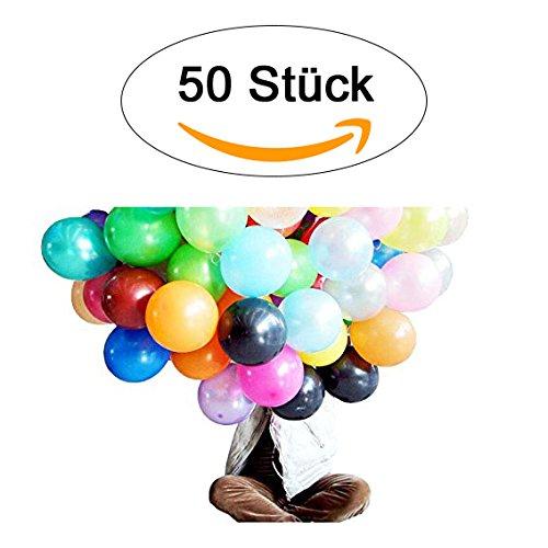 50 BUNTE Luftballons in ALLEN Farben - Helium geeignete runde Luftballons - Qualitätsware - Ballons für Kindergeburtstag, Geburtstagsfeier, Kindergarten, Veranstaltung, Open Air uvm., Valentinstag, Geburtstag uvm. (50)