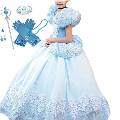 IWFREE Disfraz Cinderella Niña Princesa Carnaval Traje de Princesa para Halloween Navidad Fiesta Cosplay Costume para Niñas Chicas Disfraz de Princesa