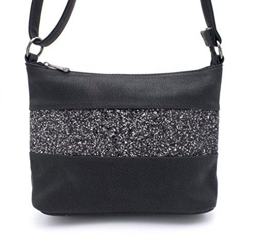 Gallantry -Sac paillettes femme-sac en paillette-sac à bandoulière femme (Noir(A))