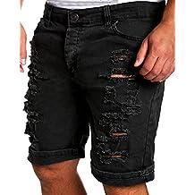 Pantalones Vaqueros Ocasionales de Los Hombres Destruyen Rodilla Longitud Agujero Rasgado Los