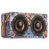 YUXIAO Bluetooth-Lautsprecher Drahtlose Bluetooth-Graffiti-Holz Tragbare Lautsprecher Großes Mikrofon Für Familientreffen/Abendessen Im Freien/Geschenk,Graffiti