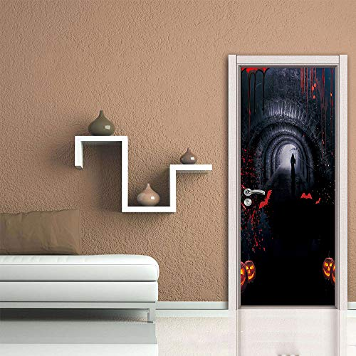 XSLIVE Türaufkleber Creative Halloween Door Sticker Mural Support Removable Wallpaper Waterproof Poster Home Decal 77 * 200cm