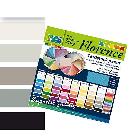Vaessen Creative Florence Scrapbook-Papier 216 g 12x12 - x24 Blatt - Multipack, schwarz, Paper, Multicolor, 30.5 x 30.5 x 0.7 cm (12x12 Schwarzen Cardstock Papier)
