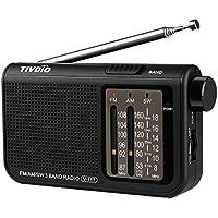 Tivdio V-117 Radio Portátil Radio de Bolsillo AM/FM/SW 3 Bandas con Perilla de Ajuste de Tipo Cilíndrico (Negro)