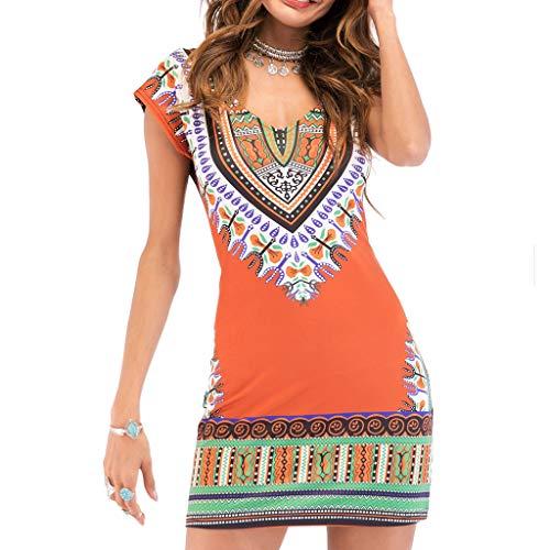 Vimoli Kleider Damen Casual V-Ausschnitt Kleid Folk-Custom ethnischen Print Kurzarm ()
