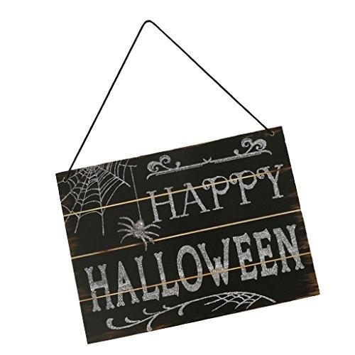 P Prettyia Schwarz ''Happy Halloween'' Halloween Hängende Dekoration Hölzerer Schild für Hause Büro Schule Garten Spukhaus alle Orte