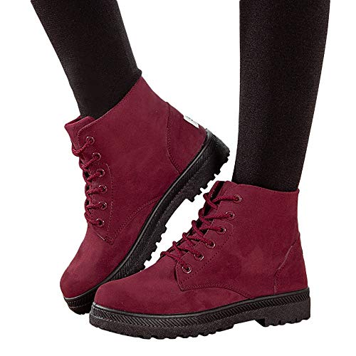 OSYARD Damen Lace Up Boots Kurze Booties Stiefeletten Freizeit Klassische Flandells, Frauen Ankle Boots Canvas Shoes Student Flache Schuhe Schnürstiefel Combat Stiefel(235/38, Rot)