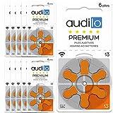 Audilo Hörgerätebatterie 13 Prämie (PR48) | Batterien für Hörgerät [Zink-Luft] [Ohne Quecksilber] [1.45V] 10 Karten von 6 Hörgerät-Batterie | Orangenfarbe
