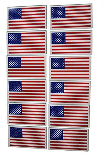 Blaue National Guard (12 kleine amerikanische Flagge Patriotische Militär Magnete Set mit 12 Mini-Rechtecken in klassischem Rot/Weiß/Blau US-Design)