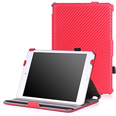 MoKo Coque Housse pour Apple iPad Mini 4 - Etui fin avec support multi-angles pour Tablette iPad Mini 4 7.9 Pocues Modèle 2015, Carbon Fiber ROUGE (Avec couverture intelligente réveil/sommeil automatique)