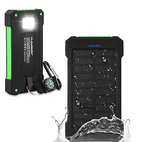 Floureon caricabatterie portatile batteria esterna 10000mah powerbank solare di emergenza impermeabile con lampada a led e 2 porte usb per iphone ipad android samsung tablet smartphone ecc - verde
