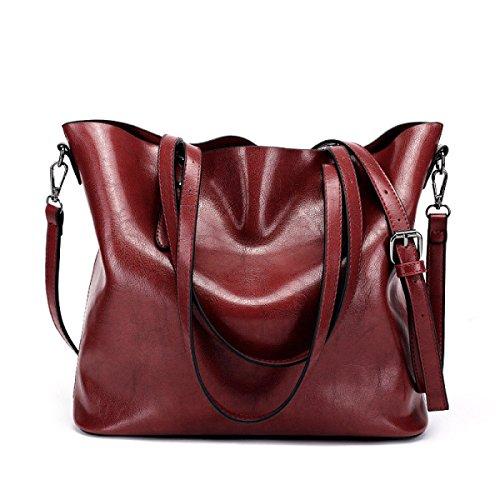 Damen Vintage Schultertasche Leder Cross Body Messenger Bags Für Frauen Handtaschen Reisen Mädchen Satchel Aktentasche Red