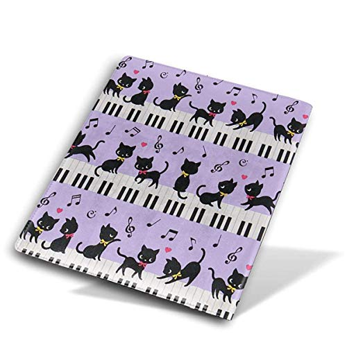 itruty Black Cat Piano Note Book/Lehrbuch/Schulbuchumschläge PU Leather Durable Washable Reusable Jumbo 9