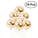 Best Confettis - NUOLUX Confetti Balloons 12 inch Golden Sequins Latex Review
