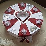 Schachteltorte mit Chiffonblumen BORDEAUX-WEISS Geldgeschenk Torte Hochzeit Geschenkidee