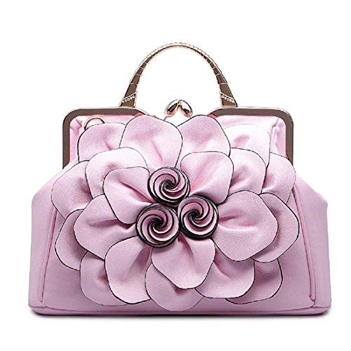 Damen Rosen Handtasche Stilvoll Schultertasche Griff Taschen Tote Mode Taschen pink (spot)