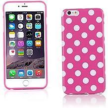 "Kit Me Out ES Funda de gel TPU para Apple iPhone 6 Plus 5.5"" pulgadas - Rosa, Blanco Lunares"