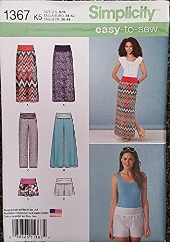 Simplicity Easy-to-Sew Pattern 1367 Misses Slim Maxi Skirt, Wide Leg and Slim Pants and Shorts, Size 16-24 by Simplicity Creative Inc. Patterns