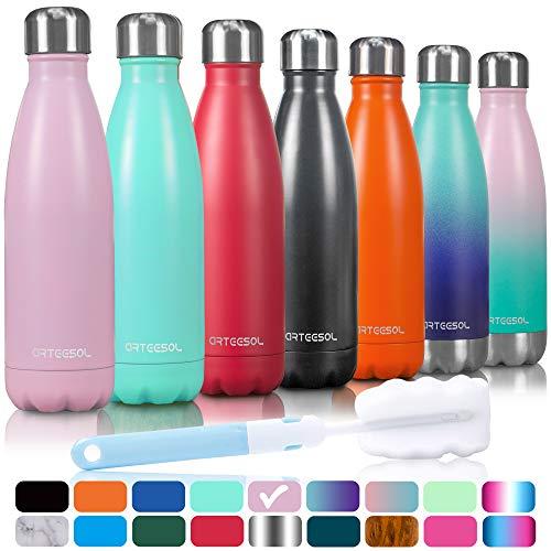 arteesol Trinkflasche, 350/500/750 ml Edelstahl Wasserflasche Doppelwandig Vakuumisoliert Water Bottle Schmaler Mund & BPA-frei für Outdoor-Sport Fitness Workout Camp & Office.(Rosa, 750ML) -