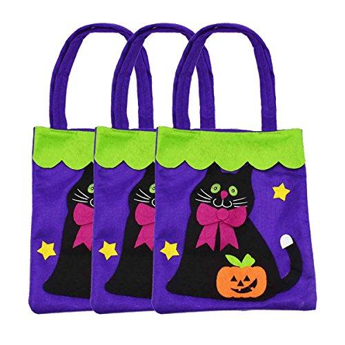 XONOR 3 Stück Halloween-Tragetaschen - Large 39cm - Wiederverwendbare Lebensmittelgeschäft-Süßigkeit-Kürbis-Taschen-Taschen für Partei-Bevorzugungs-Dekoration (schwarze Katze)