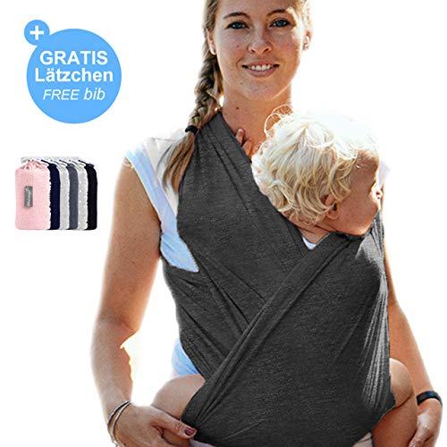 Babytragetuch Dunkelgrau - hochwertiges Baby-Tragetuch für Neugeborene und Babys bis 15 kg - aus 100 {3b0ce51b99a3b46e8fb67750219b2beb84d38de1857d405c5406a1544b1916e4} Baumwolle