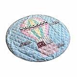 MJATOP Einhorn Kinder Babys Straßenkarte Baumwolle Frühling Outdoor Wasserdicht Strand Krabbeldecken| Spielbögen| Spielmatte| Spielteppiche für Kinderzimmer (Heißluftballon, Runde)