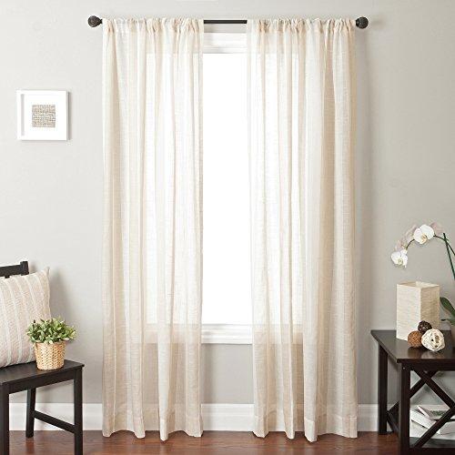 Softline Home Fashions Bahamas 7Serie natur Fenster Vorhang/Fall/Panel//Behandlung Traditionelle Gestreift Design 139,7cm W x 243,8cm H mit Stab Pocket -