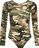GirlzWalk ® Women Army Camouflage Print Long Sleeve Bodysuit Viscose Leotard Top
