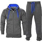 Juicy Trendz Uomo Athletic lunghi Selves pile Zip intera palestra tuta da jogging Set usura attivo Charcoal/Blue S
