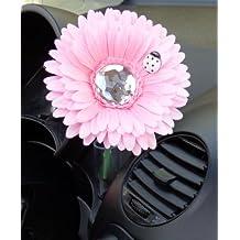 Flor artificial decorativa con insecto, color rosa