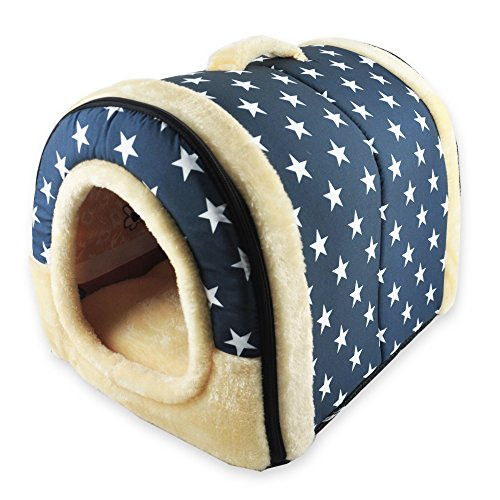ANPI 2 In 1 Pet House and Sofa, White Stars Machine Washable Non-slip Foldable Soft Warm Dog Cat Puppy Rabbit Pet Nest Cave Bed House with Removable Cushion Detachable Cashmere Mattress, Medium
