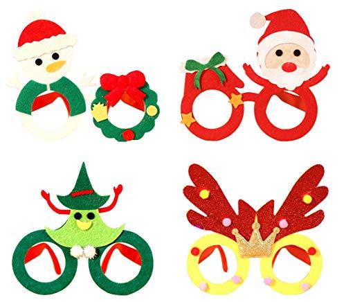 Cloud Kids 4pcs Lustige Weihnachts Brillen Rahmen Stützen Weihnachts Schmuck Geschenke für Kinder und Erwachsene Party-Gläser Photo Booth (Mehrfarbig)