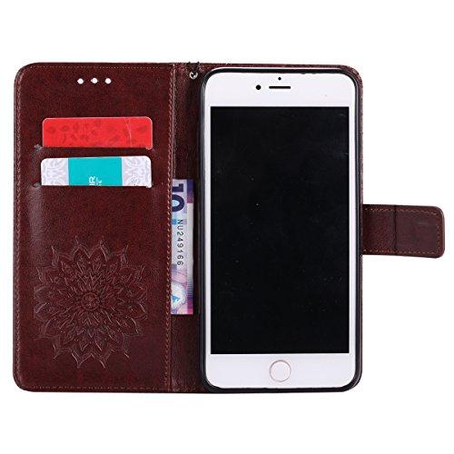 Per Custodia iphone 7 plus, Ekakashop Cover in PU Pelle - Progettato per iphone 7 plus Ragazza Ragazzo Vintage Moda Colorate Sunflower Girasole Rilievo Pattern Disegno Materiale PU Leather Magnetico F Marrone