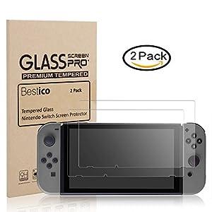 Bestico Displayschutzfolie für das Nintendo Switch – Premium Glassschutzfolien [0.3mm] [9H Härte]-für das 6.2 Zoll Tablet Display der Nintendo Switch Konsole[2 Stück]