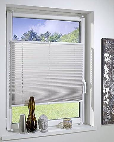 DecoProfi PLISSEE grau, verspannt, Breite 40cm x 130cm (max. Gesamthöhe Fensterflügel), mit Klemmträger / Klemmfix / ohne